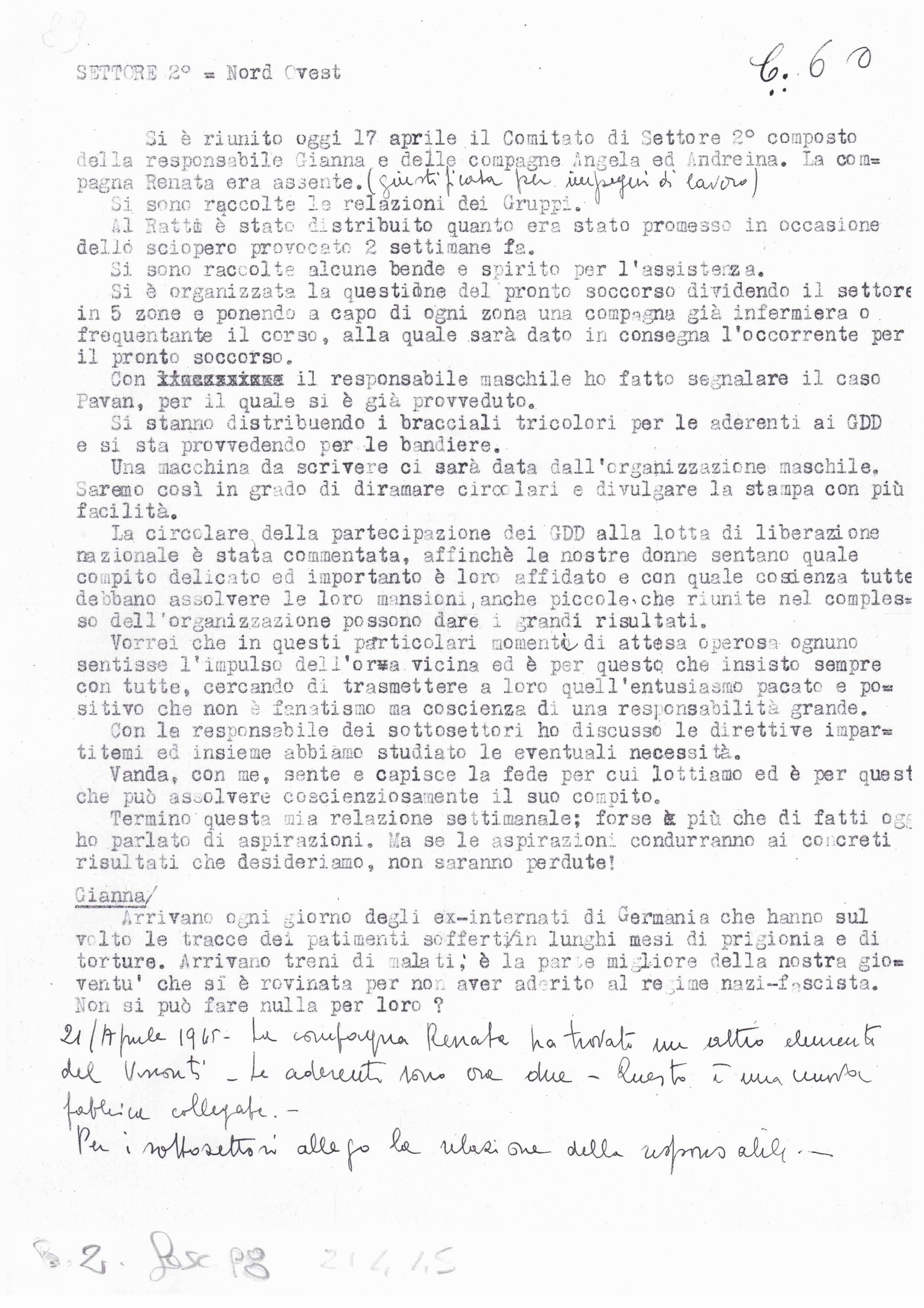documento dei GDD conservato presso l'Archivio centrale dell'UDI